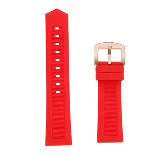 joyMerit Reemplazo de Correa de Reloj de Pulsera de Caucho Rojo Impermeable 19mm-22mm - 19 mm