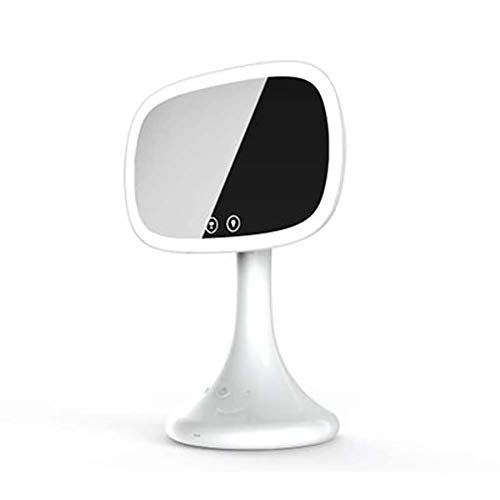XZYP LED-makeupspegel, LED-spegel makeup-spegel, sminkspegel med bluetooth, 225° justerbar rotation, LED-spegel med 10 fack lupp på baksidan, vit