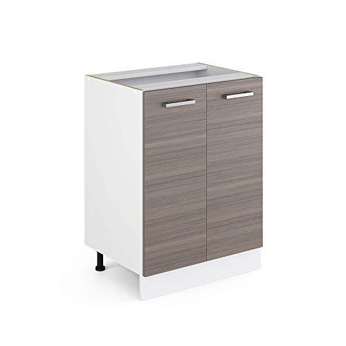 Vicco Küchenschrank R-Line Hängeschrank Unterschrank Küchenzeile Küchenunterschrank Arbeitsplatte, Möbel verfügbar in anthrazit und weiß (edelgrau ohne Arbeitsplatte, Unterschrank 60 cm)