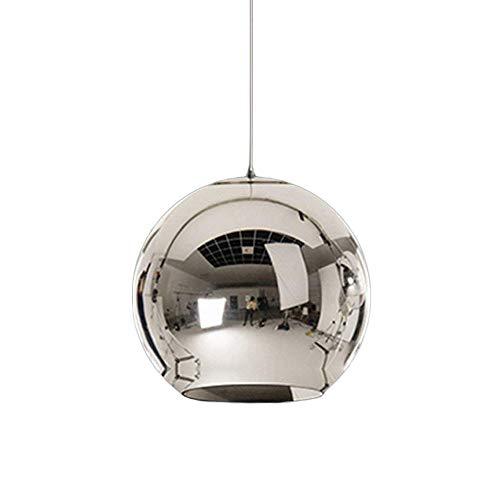 Modern Pendelleuchte Hängelampe Runde Eisen Lampenschirm Hänge Leuchter Lampen für Schlafzimmer Nachttisch Bar Kücheninsel Esszimmer Tisch Treppe Halle Loft Hängeleuchte Kronleuchter (Chrom, φ30CM)