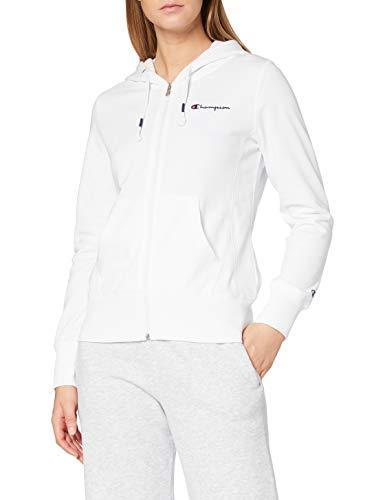 Champion Damen - Classic Small Logo Kapuzenpullover mit Reißverschluss - Weiß, XL