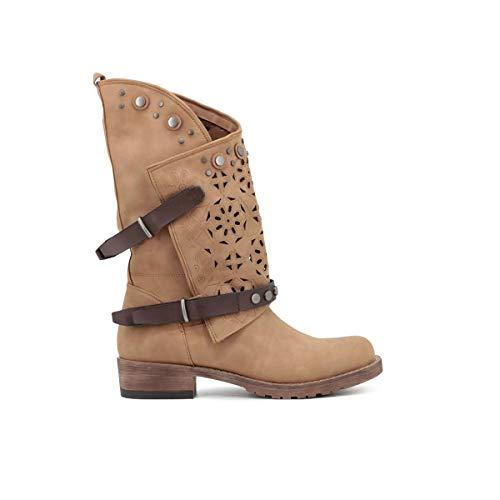 QUEEN HELENA Stivali Donna Traforati Casual Estivi Scarpe con Tacco Western Stivaletti Comodi Texani (X24-45 Cuoio, numeric_41)