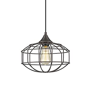 Farmhouse Metal Wire Pendant Light 12 Inch, HWH Industrial Cage Hanging Light Fixture with Height Adjustable for Kitchen Island, Dining Room, Hallway, Foyer, Oil-Rubbed Bronze Finish, 5HZG57-M1L ORB