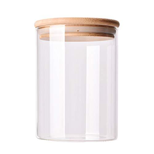 YARNOW Vaso per Alimenti in Vetro da 750 Ml con Coperchio in bambù Contenitore per Alimenti in Vetro per Servire tè, caffè, Zucchero, Spezie (Trasparente)