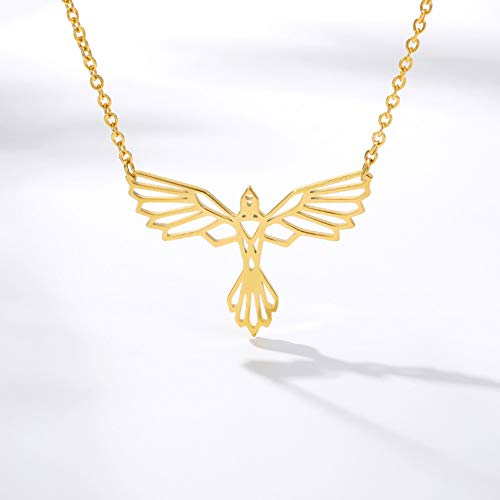 Collar FyaWTM, Joyas Colgante Collar Phoenix de Acero Inoxidable Origami Bird Colgante Lucky Gift Gargantillas de Cadena