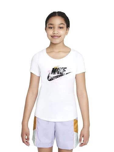 Nike NSW Tee RTL Scoop Futura - Camiseta de niña de manga corta blanco 140 cm