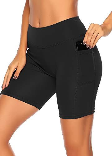 STARBILD Shorts Mallas Pantalones Cortos Elástico Deportivos para Mujer con Bolsillos en Dos Lados para Fitness Gym Yoga Negro M
