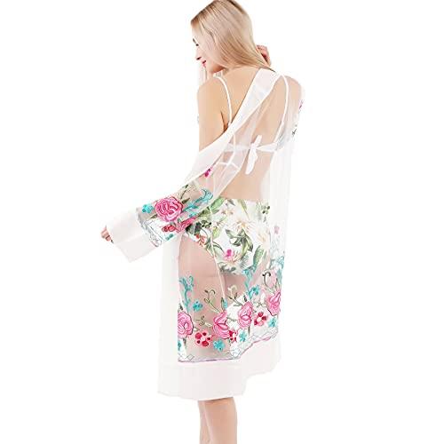PF Pareos de Bikini de Playa para Mujer Bordados con diseños artísticos Vestido de Playa de Gasa Suelta Outwear Long Cover-ups Talla única (56-White, One Size, One_Size)