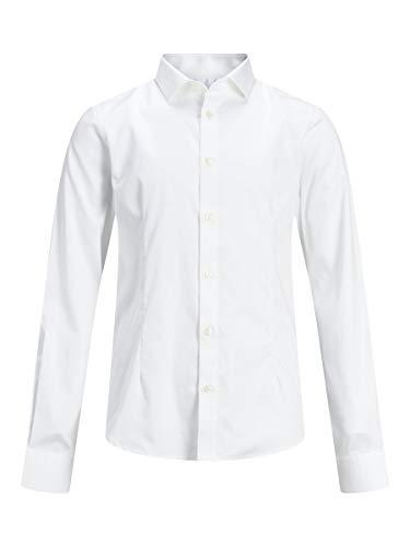 JACK & JONES Jungen Jprparma Shirt L/S Jr Sts Hemd, Weiß (White White), 128 EU