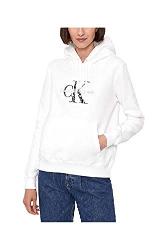 Calvin Klein Jeans Reptile Monogram Hoodie Felpa con Cappuccio, Bright White, X-Small Donna