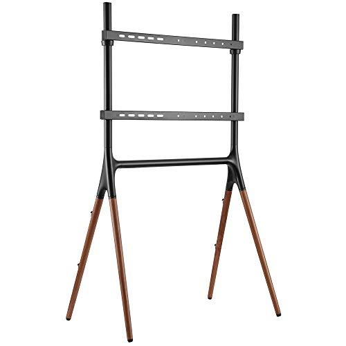 EasyLife STAFFELEI - Trípode para TV de 4 patas, hasta 70' y 40kg, altura regulable, gestión de cables, VESA hasta 600x400, color negro/ nogal oscuro