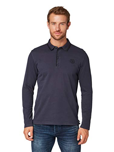 TOM TAILOR Herren Basic Langarm Poloshirt, Blau (Knitted Navy 10690), L