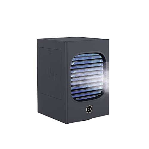 RongWang Mini Enfriador de Aire Ventilador pequeño portátil Ventilador de circulación de Aire de Viento Grande Ventilador de Aire Acondicionado de Escritorio con Agua Helada (Color : Black)