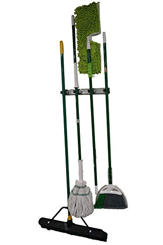 Mop and Broom Organizer – Declutter your Kitchen, Laundry Room or Garage with this Commercial Strength Metal Wall Mount Holder – Keep your Lawn, Yard and Gardening Tools Neat and Organized