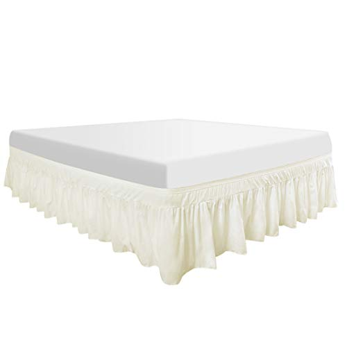 PiccoCasa Polyester Wrap Around Bed Skirt,Elastic Dust Ruffles Bedskirts,Fade & Wrinkle,No Lift Mattress,Three Fabric Sides with 16 Inch Drop Pearl White Queen