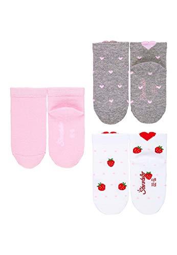 Sterntaler Baby-Mädchen Strampler-Set Nicki Lotte Socken, Weiß/Rosa/Hellgrau, 23-26