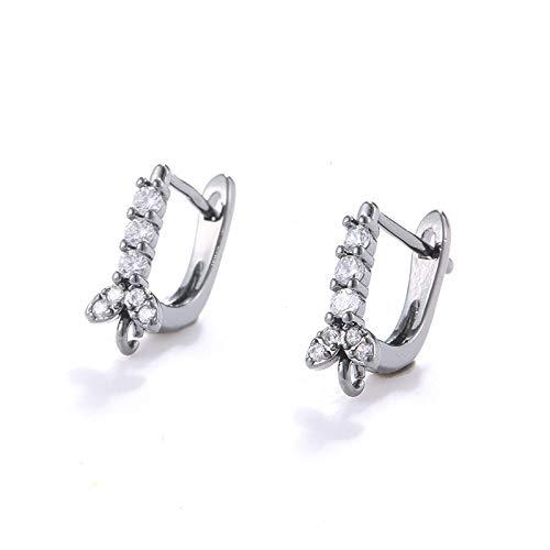 GSZP XF Zircon arco pendientes pendientes pendientes hechos a mano para hacer joyas pendientes mujer Accesorios materiales (Color: negro pistola)