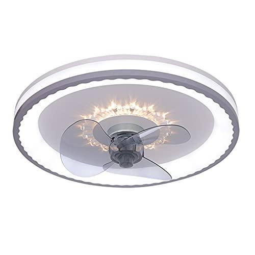 LANTING Ventilador de techo Con iluminación Lámpara de techo LED ventilador Luz de Plafón Regulable Con control remoto Ronda Iluminación de techo Ajustable Velocidad del viento Cuarto Ø48 * H13CM