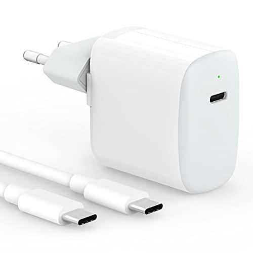 IFEART Chargeur USB C 30W Compatible avec MacBook Air, MacBook 12 Pouces, iPad Pro 12.9/11 2021/2020/ 2018, Air 4, Samsung S21/ S20, Pixel, Switch, Chargeur USB Type C Rapide, Câble USB C vers C 2M