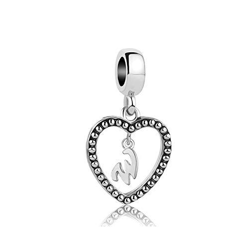 MiniJewelry Letter Initial W Charm for Bracelets Love Heart Dangle Name Letter Charm 4.9mm fits Pandora Charms Bracelets