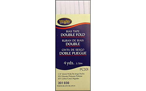 Double Fold Bias Tape 1/4'' x 4 Yard White
