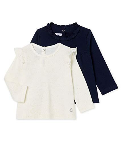 Petit Bateau Baby-Mädchen Tee Shirt ML_5018199 Langarmshirt, Mehrfarbig (Variante 2 99), 80 (Herstellergröße: 12M/74cm) (2er Pack)