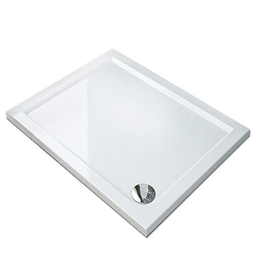SONNI Plato de Ducha 100x80,Portatil,roca,con Altura 4cm Blanco,Antideslizante,Liso
