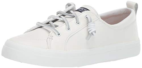 Sperry Womens Crest Vibe Leather  Sneaker, White, 8