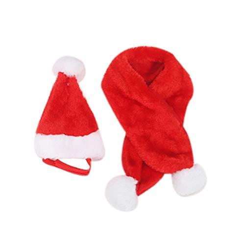 Amosfun Disfraz de Navidad de Mascotas Sombrero de Papá Noe