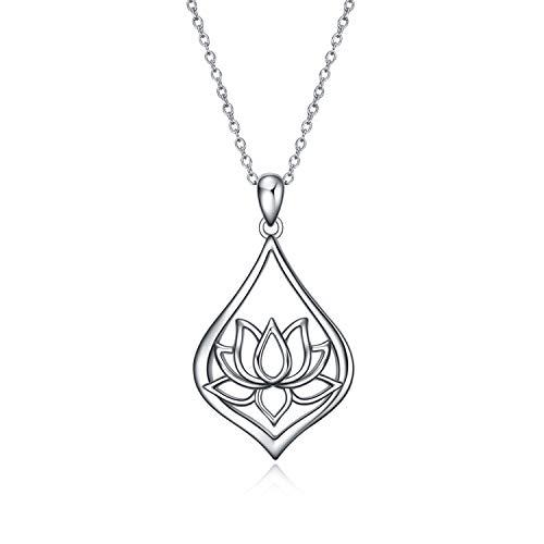 WINNICACA Lotus Halskette Sterling Silber Lotus Flower Yoga Anhänger Halskette Schmuck Geschenke für Frauen Mädchen