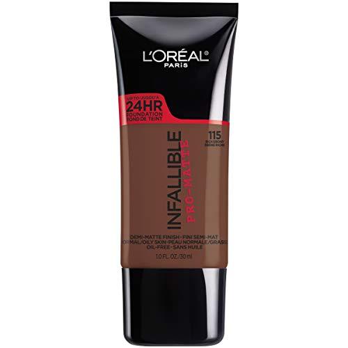 L'Oreal Paris Makeup Infallible Pro-Matte Liquid Longwear Foundation, Rich Ebony 115, 1 fl. oz.