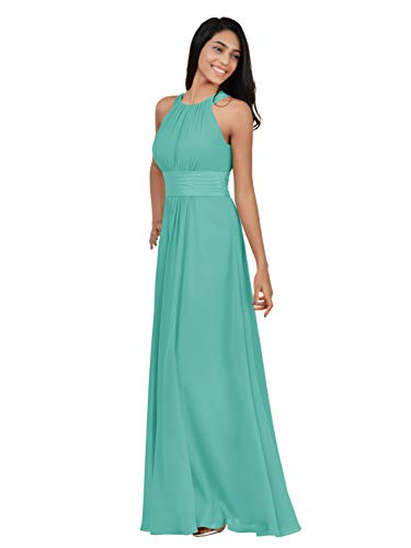 Alicepub Sleeveless Bridesmaid Dresses Long for Women Formal Elegant Halter Evening Dresses for Weddings Empire Maxi Party Prom Gown, Aqua Blue, US14