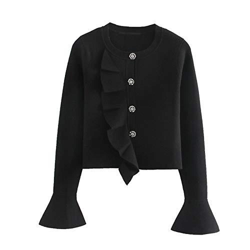 Moda Sudaderas Jersey Sweater Mujeres Vintage con Estilo Joya Botones Volantes Recortada Suéter De Punto Moda Cuello Redondo Manga Larga Prendas De Vestir Exteriores Chic Tops L Aspicture