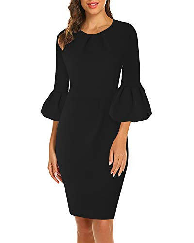 ABYOXI Damen Elegant Rüschen Midi Etuikleid Party Business Bodycon Bleistiftkleid Cocktailkleider, Schwarz, 42 / XL