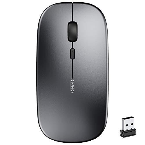 Kabellose Maus, Inphic Slim Silent Click Mini Wiederaufladbare Wireless Mouse, 2.4G USB Optische Mäuse PC Laptop Computer Funkmaus Mini mit Nano Empfänger, für Windows Mac MacBook Linux - Grau