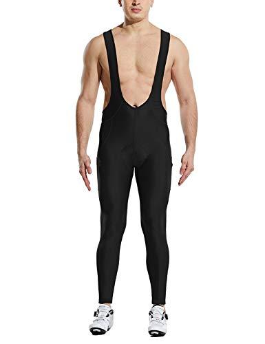 BALEAF Men's Cycling Bike Bibs Long Pants 4D Padded MTB Riding Bicycle Tights Breathable Pockets UPF50+ Black L