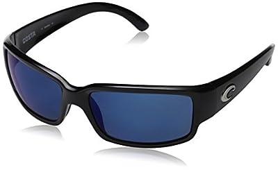 Costa Del Mar Men's Caballito Polarized Rectangular Sunglasses, Shiny Black/Grey Blue Mirrored Polarized-580P, 59 mm