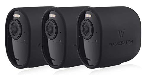 Fundas de Silicona Protectoras compatibles con cámara de Seguridad Arlo Ultra – Decora y Protege tu cámara Arlo (Negro – Pack de 3)