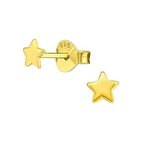 Laimons Pendientes infantiles con estrella brillante de 4 mm, plata de ley 925