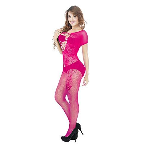 Shanol Seoras Sexy Ropa Interior Hueco Malla Transparente Medias Red una Pieza Seductor Sexy Pijamas (Color : C)