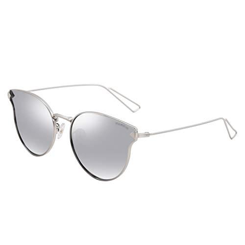 LQ Gafas de sol de Mujeres Retro Metal Big Box Película colorida Tide Sunglasses Sunglasses Espejo de conducción polarizado Multicolor (Color : Gray)