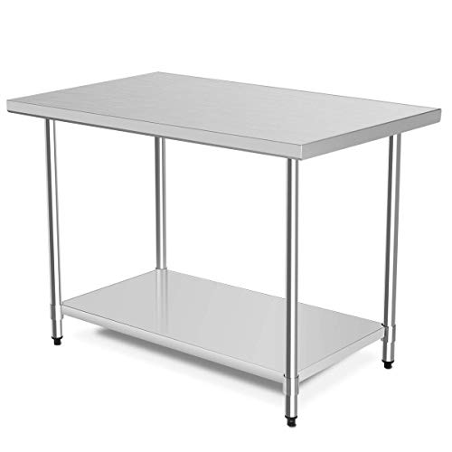"48"" x 30"" NSF Stainless Steel Table, Heavy Duty Commercial Kitchen Food Prep Table & Work Table, Wheels Installable, Adjustable Shelf, by WATERJOY (Without Wheels)"