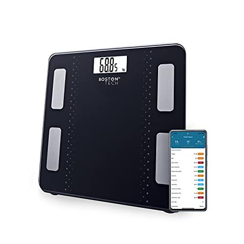 Báscula de Baño Digital Inteligente Alta precisión, Diagnóstico Peso Corporal Masa Muscular y Ose, Grasa Corporal y Agua corporal, metabolismo y BMP Max.180kg para Andriod y iOS Negra Modelo ME109