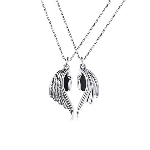 2 Freundschaftsketten, Engel Und Dämon Flügel Halskette, Flügel Anhänger Halskette Set Magnetische Halskette Für Frauen Liebhaber Paare