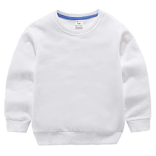 DCUTERQ Sudadera con Cuello Redondo para Niños Bebés Camiseta Deportiva de Algodón con Manga Larga Casuales Pullover Tops Blanco 6-7 Años