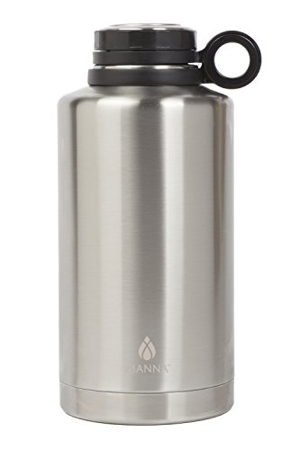 Manna Ring Growler | 64oz Vacuum Insulated Stainless Steel | Craft and IPA Beer Growler | Keeps Beverages Fresh and Cold up to 24 Hours | Lead and BPA Free - Stainless Steel