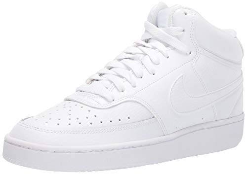 Nike Womens Court Vision Mid Basketball Shoe, White White White, 40.5 EU