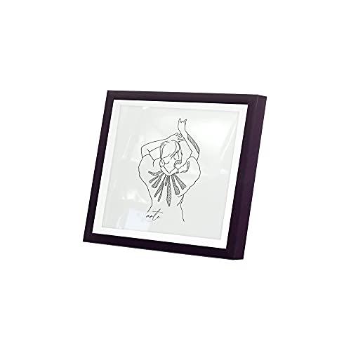Artepoint Holz - Rahmen für Bilder quadratisch 15x15 20x20 25x25 30x30 40x40 50x50 mit weißem Passepartout Rahmen zum Aufhängen Farbe Schwarz - Format 50x50
