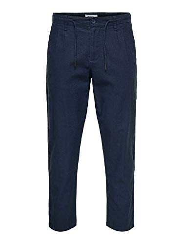 Only & Sons NOS Herren Hose onsLEO LINEN MIX GW 3002 NOOS Blau (Dress Blues), W33/L32(Herstellergröße: 33)