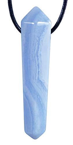 Lebensquelle Plus Blauer Chalcedon Anhänger Spitze Doppelender gebohrter